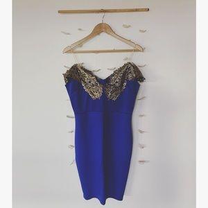 Blue & gold embellished dress